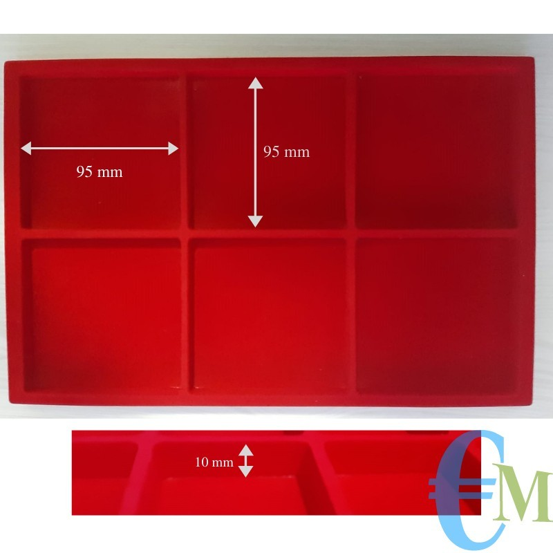 Vassoi in Floccato rosso 6 caselle 95 x 95 mm spessore 10 mm