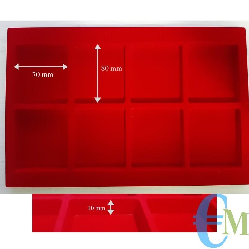 Vassoi in Floccato rosso 8 caselle 70 x 80 mm spessore 10 mm