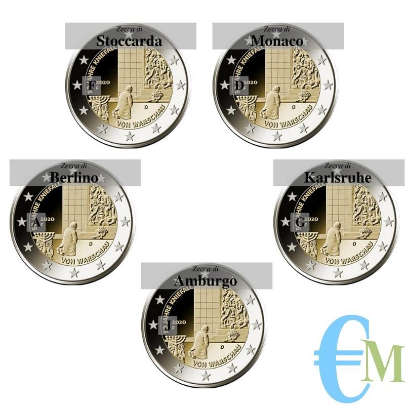 Lotto di tutte e 5 le zecche.  Germania 2020 - 2 euro commemorativo 50° anniversario della Genuflessione di Varsavia