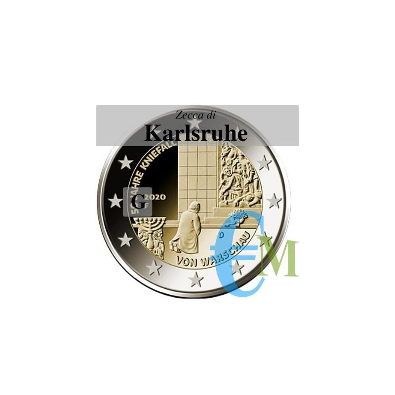 Germania 2020 - 2 euro commemorativo 50° anniversario della Genuflessione di Varsavia - zecca di Karlsruhe G
