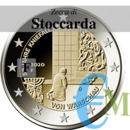 Germania 2020 - 2 euro commemorativo 50° anniversario della Genuflessione di Varsavia - zecca di Stoccarda F
