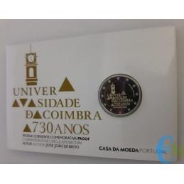 Portogallo 2020 - 2 euro Proof 730º dell'Università di Coimbra card interna
