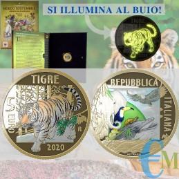 Italia 2020 - 5 euro commemorativo mondo sostenibile, animali in via di estinzione - Tigre
