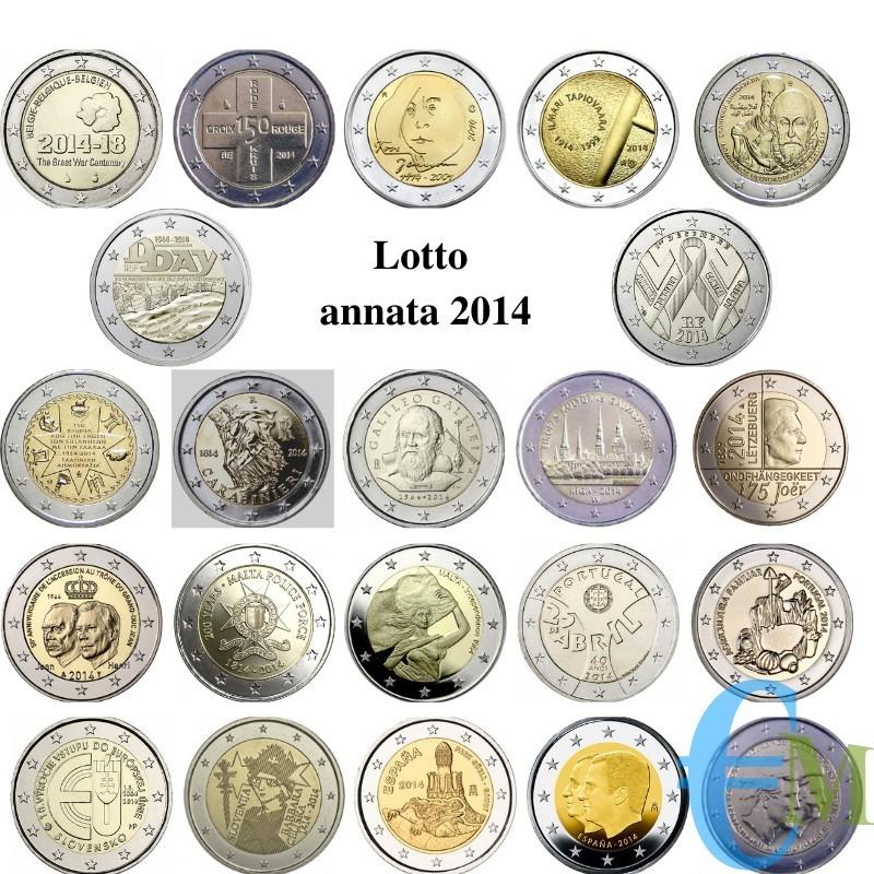 2014 - Lotto annata 2 euro commemorativi del 2014