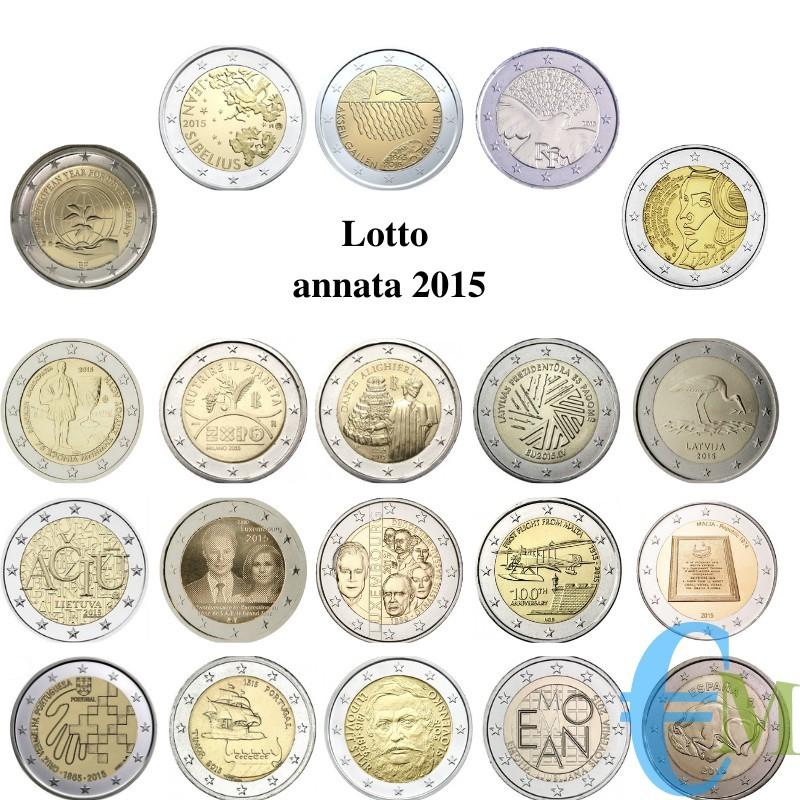 2015 - Lotto annata 2 euro commemorativi del 2015