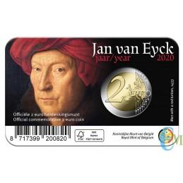 Belgio 2020 - 2 euro 630° nascita Jan van Eyck BU in coincard Francese retro
