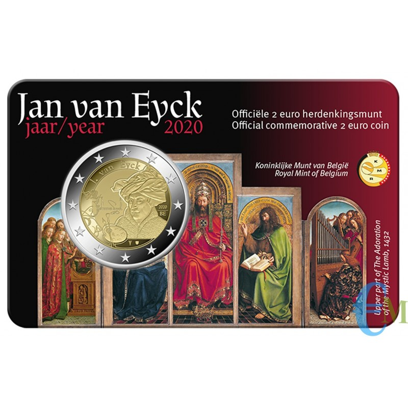 Belgio 2020 - 2 euro 630° nascita Jan van Eyck BU in coincard Olandese