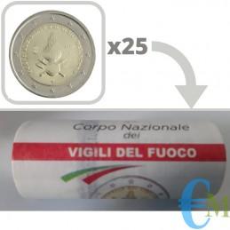 Rotolino ufficiale da 25 x 2 euro commemorativi 80° anniversario della fondazione del Corpo Nazionale dei Vigili del Fuoco.
