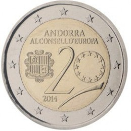 Andorra 2014 - 2 euro commemorativo 20° anniversario dell'ingresso di Andorra nel Consiglio d'Europa