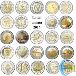 2016 - Lotto annata 2 euro commemorativi del 2016
