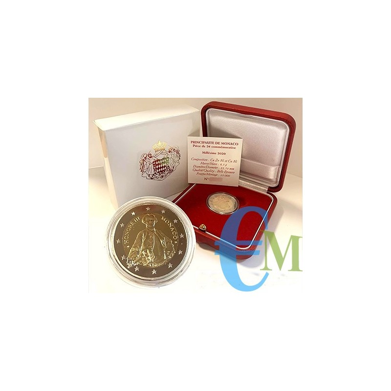 Monaco 2020 - 2 euro commemorativo Proof 300° anniversario della nascita del Principe Honore III.