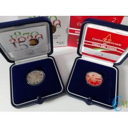 Lotto 2 euro Italia Proof 80° Vigili del Fuoco e 150° Maria Montessori in confezione ufficiale di zecca