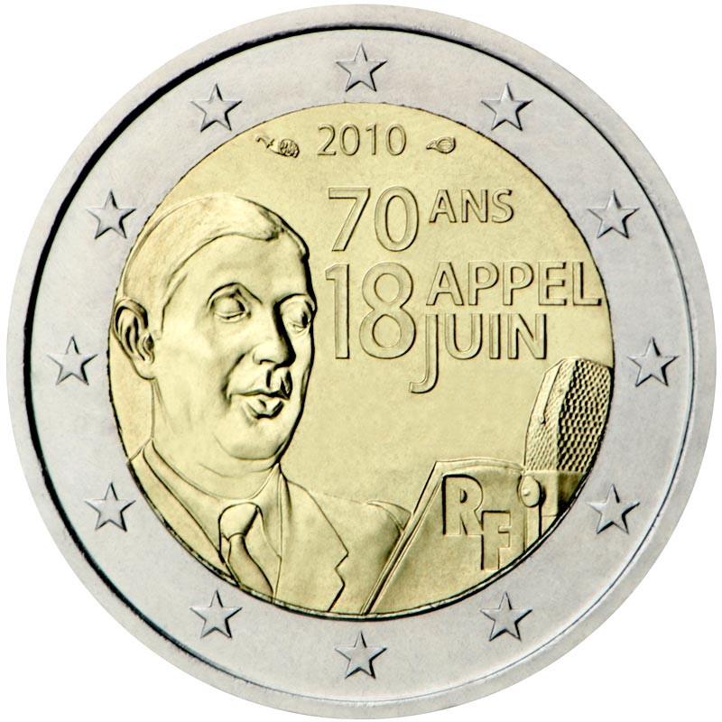 Francia 2010 - 2 euro commemorativo 70° anniversario dell'appello di Charles de Gaulle.