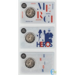 Francia 2020 - Tris 2 euro Ricerca Medica BU in coincard MERCI - UNION - HEROS