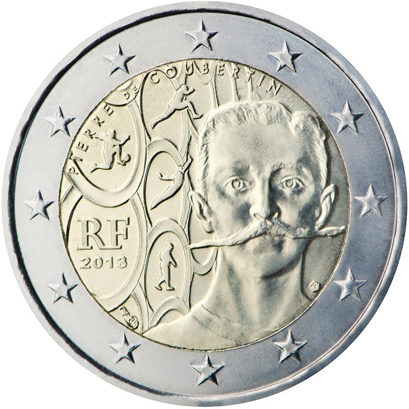 Francia 2013 - 2 euro commemorativo 150°anniversario della nascita di Pierre de Coubertin.