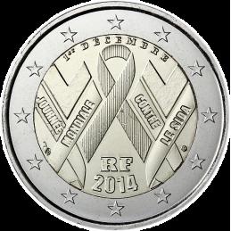 Francia 2014 - 2 euro commemorativo giornata mondiale contro l'AIDS.