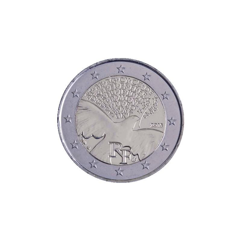 Francia 2015 - 2 euro commemorativo dal 1945 l'Europa costruisce la pace e la sicurezza.