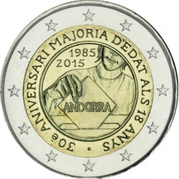 Andorra 2015 - 2 euro commemorativo 30° anniversario dell'attribuzione della maggiore età.
