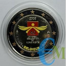 2 euro colorato 60° Diritti dell'Uomo
