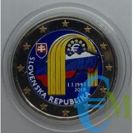 2 euro commemorativo colorato 25° anniversario della Repubblica Slovacca.