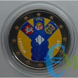 2 euro colorato 100° degli Stati Baltici