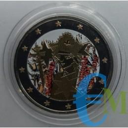2 euro colorato 600° incoronazione Barbara di Cilli