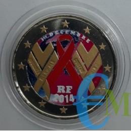 2 euro commemorativo colorato giornata mondiale contro l'A.I.D.S.