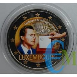 2 euro commemorativo colorato 100° anniversario del suffragio universale in Lussemburgo.