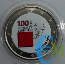 2 euro colorato 100° Università di Lubiana