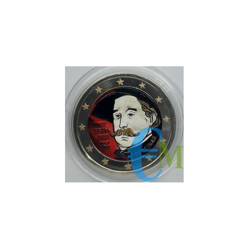 2 euro colorato 150° nascita Raul Brandao