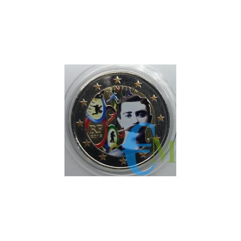 2 euro colorato 150° nascita Pierre de Coubertin