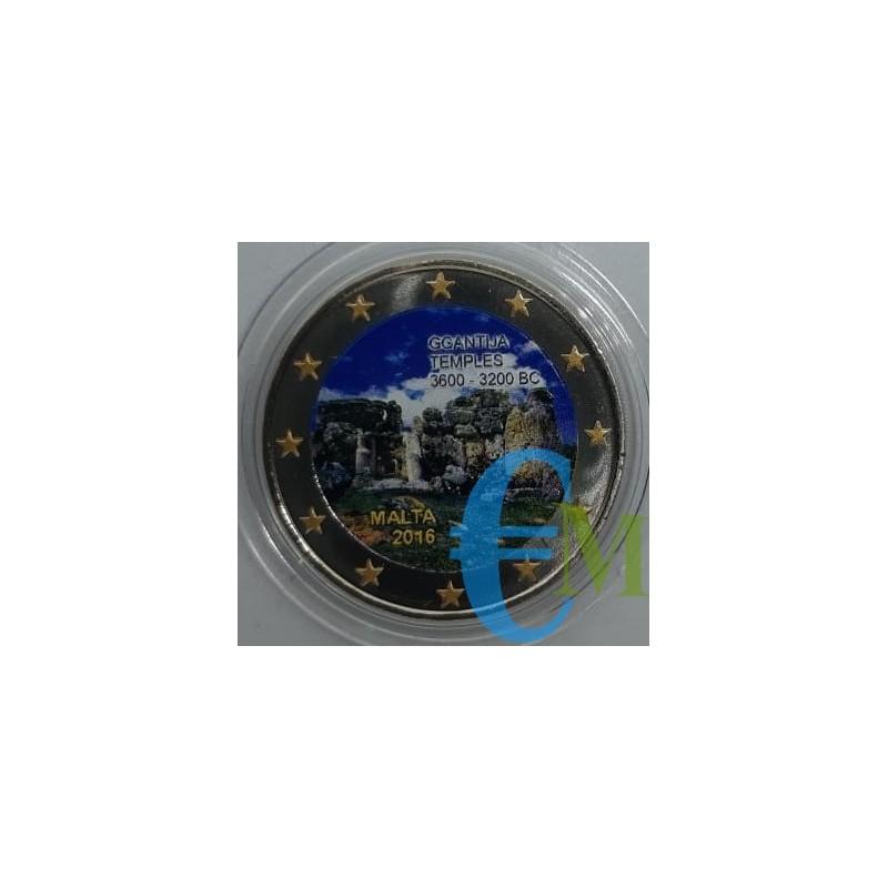 2 euro commemorativo colorato 1° moneta della serie dedicata ai siti preistorici maltesi.