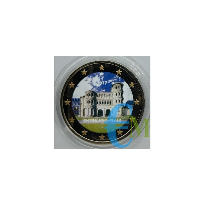 2 euro commemorativo colorato Porta Nigra a Treviri, 12° moneta della serie dedicata ai Lander tedeschi - zecca casuale