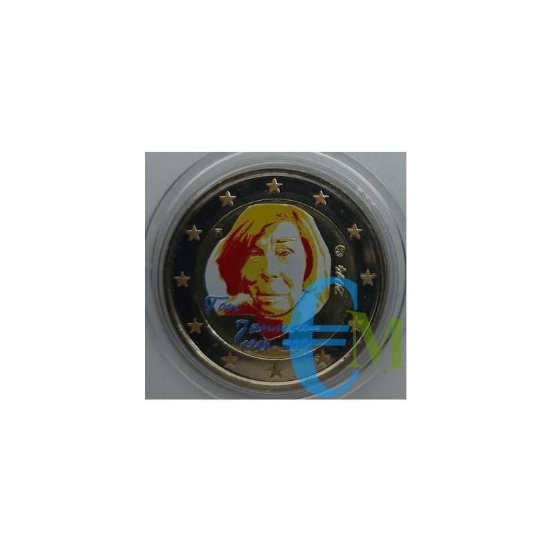 2 euro commemorativo colorato 100° anniversario della nascita di Tove Jansson (1914 - 2001), scrittrice e pittrice finlandese.
