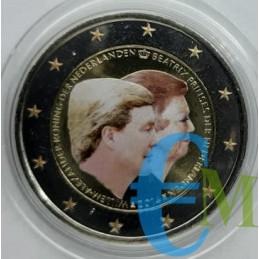 2 euro commemorativo colorato 1° anno di regno del re Guglielmo Alessandro e la principessa Beatrice.