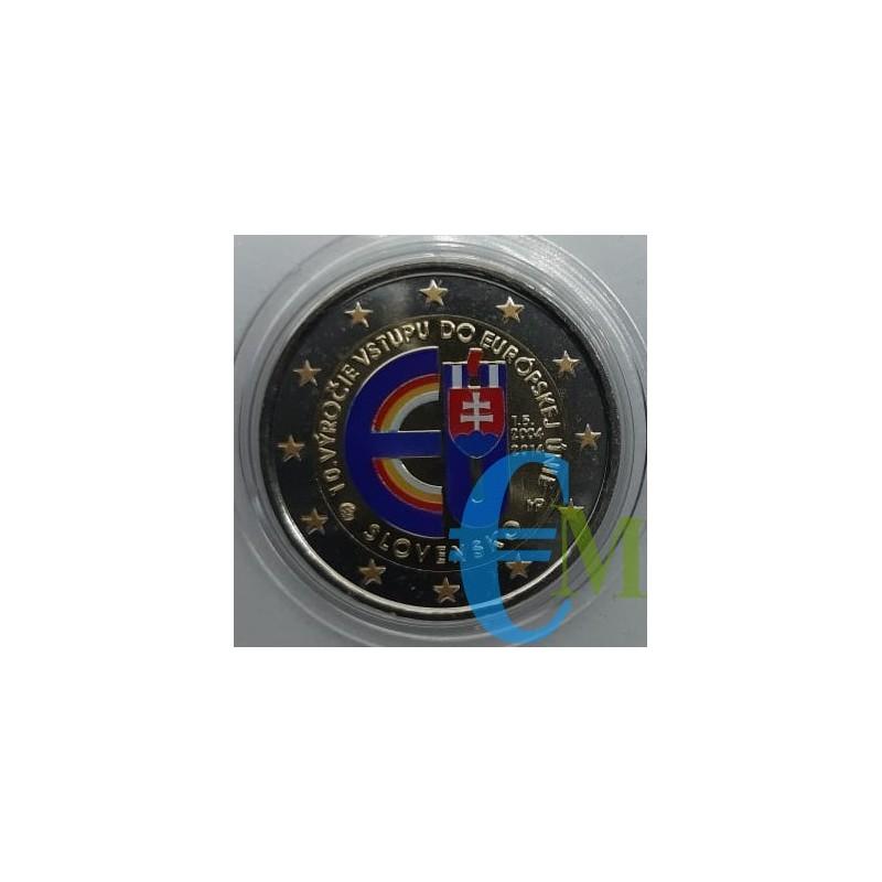 2 euro commemorativo colorato 10° anniversario dell'ingresso della Slovacchia nell'Unione europea.