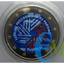 2 euro commemorativo colorato presidenza del Consiglio dell'Unione europea della Lettonia.