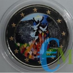 2 euro commemorativo colorato 30° anniversario della caduta del muro di Berlino.