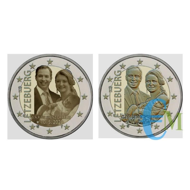 Lotto 2 euro nascita Principe Carlo le due versioni foto e in rilievo