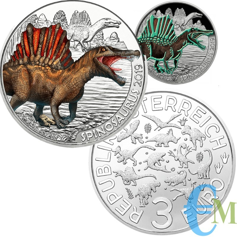 Austria 2019 - 3 euro Spinosaurus - 1° moneta Supersaurs
