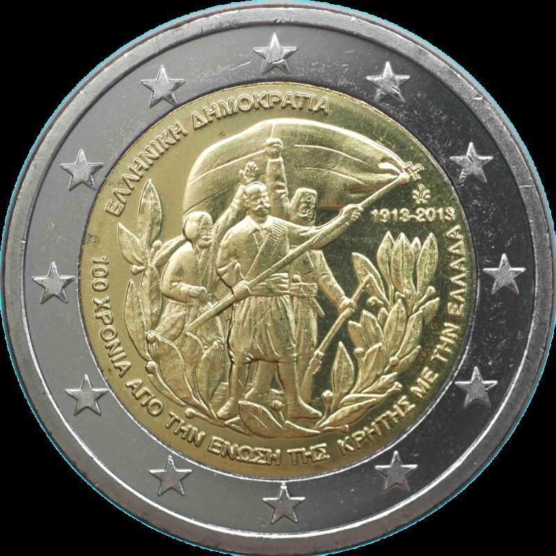 Grèce 2013 - 2 euros commémorative du 100e anniversaire de l'annexion de la Crète à la Grèce.