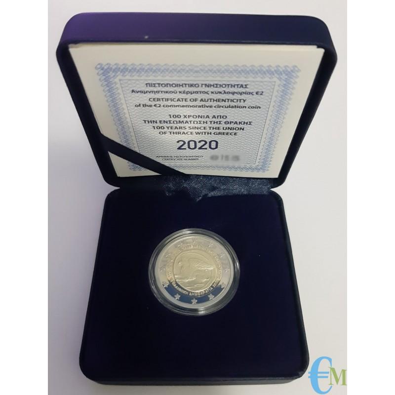 2 euro Proof 100° dell'annessione della Tracia alla Grecia