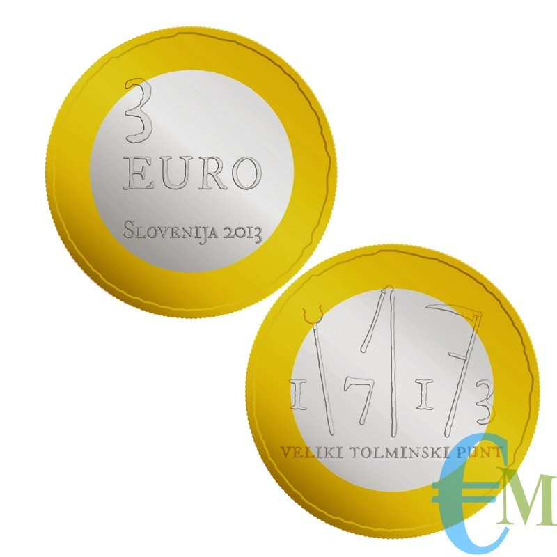 3 euro Bimetallica 300° Rivolta di Tolmin