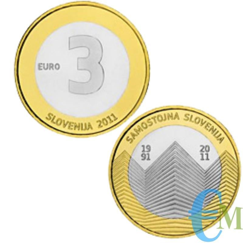3 euro Bimetallico 20° Indipendenza Slovena