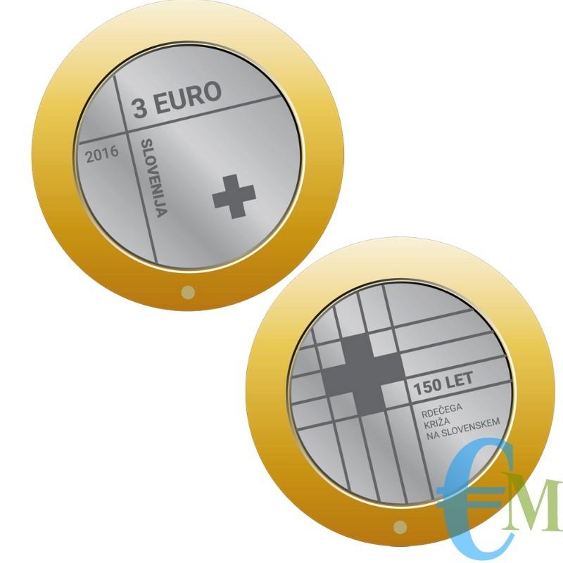 3 euro Bimetallico 150° Croce Rossa Slovena