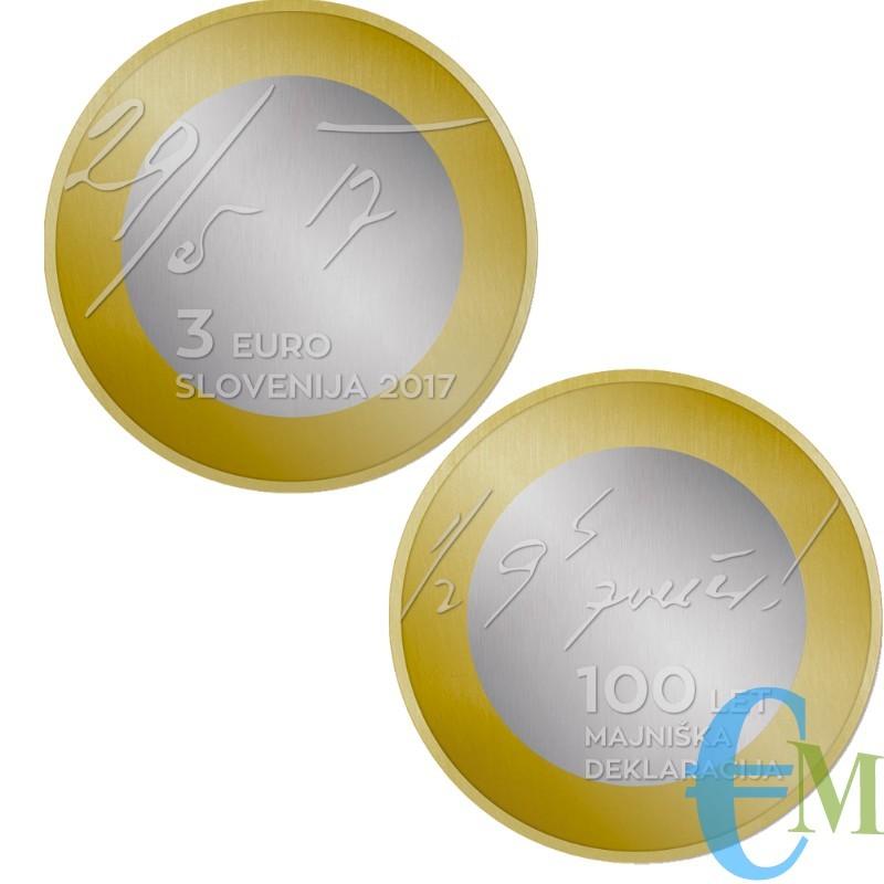 3 euro Bimetallico 100° Dichiarazione Maggio