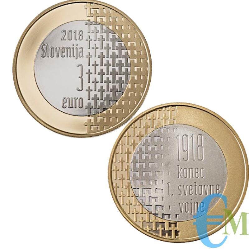 3 euro Bimetallico 100° Fine della Prima Guerra Mondiale