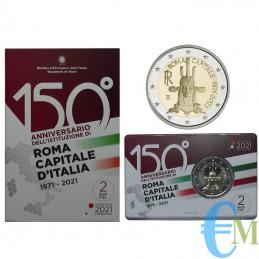 2 euro 150° Roma Capitale d'Italia FdC in coincard