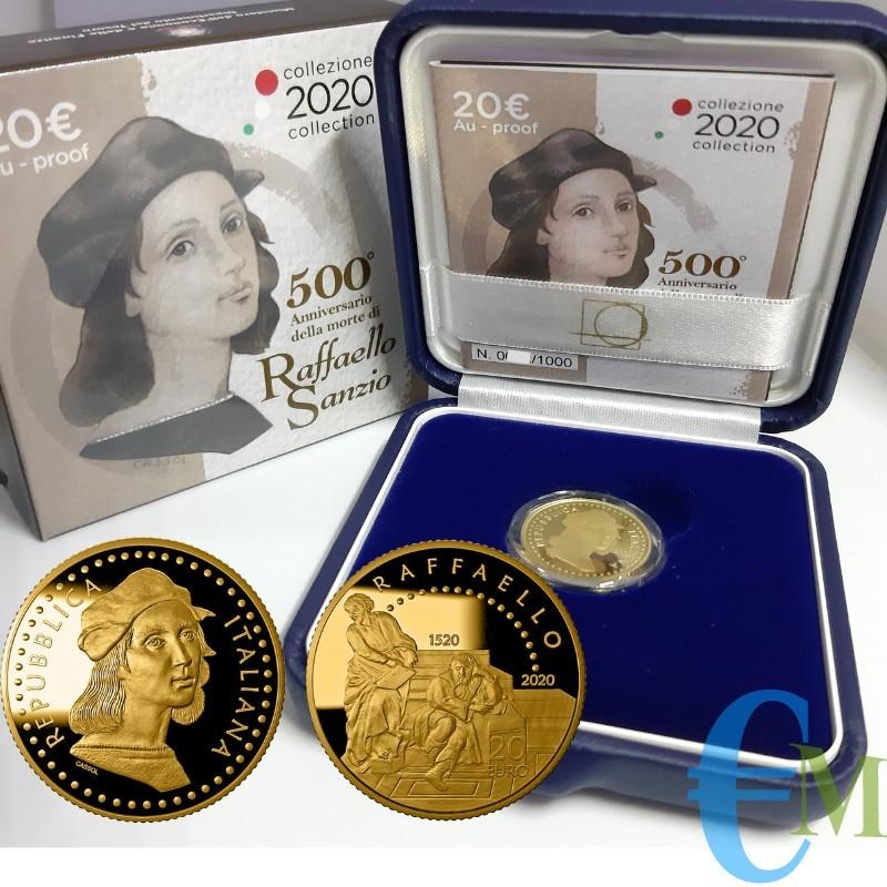 20 euro 500° Anniversario della morte di Raffaello Sanzio in Oro