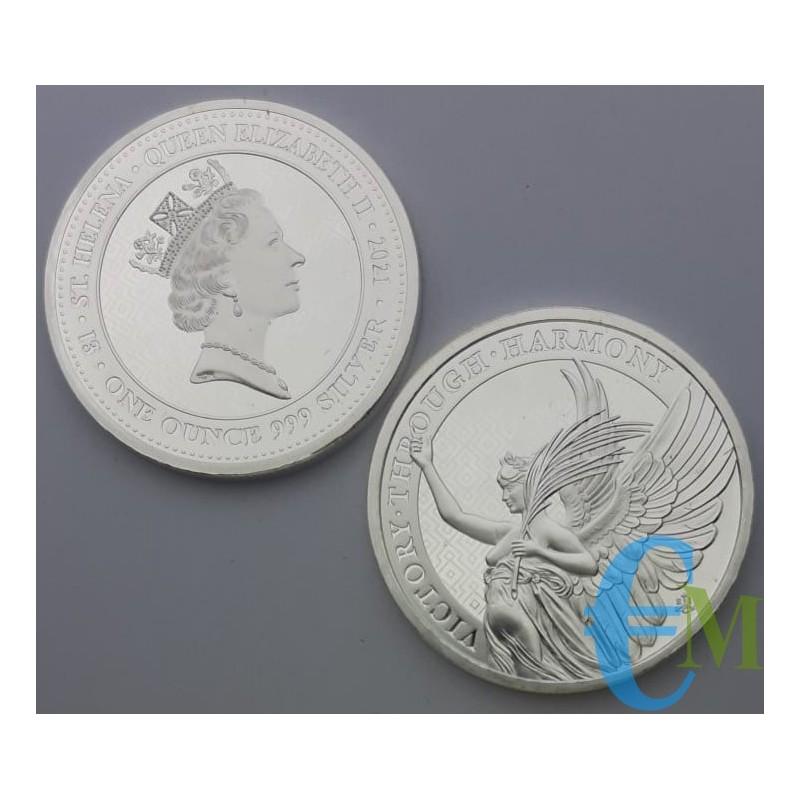 St. Helena 2021 - 1 Oncia Vittoria della Regina - 1 ounce oz 999 Silver